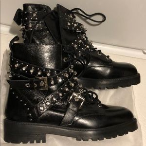 NWT Zara Studded Black Ankle Zip Boots 7 1/2 38